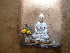 Peaceful Buddha in the potting Shed at Green Gulch Zen Center